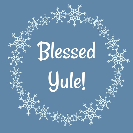 Blessed Yule lettering in winter snowflakes wreath