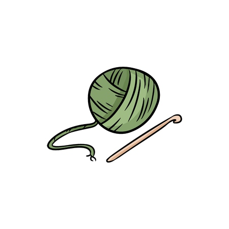 Yarn colorful icon doodle. For print, stickers, creative design. Vector illustration. Illustration
