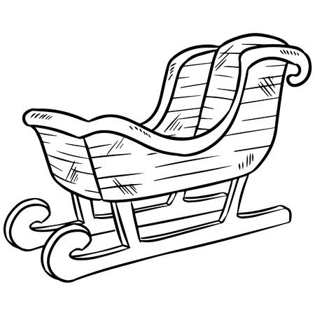 Christmas sleigh doodle. Isolated sketch for coloring Vector Illustration