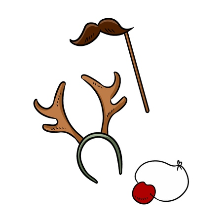 Christmas party items moustache reindeer horns and rudolph nose doodle elements Illustration