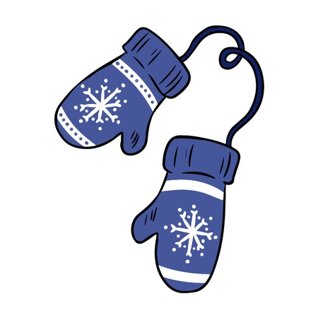 Griffonnages d'hiver colorés hygge confortable de mitaines de dessin animé Vecteurs