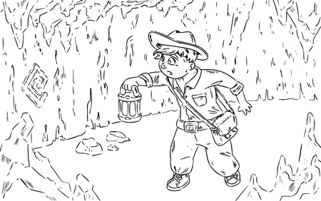 Young adventurer looking for treasure. Comic style illustration
