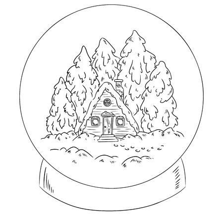 Winter cabin log in a snow globe scene for coloring