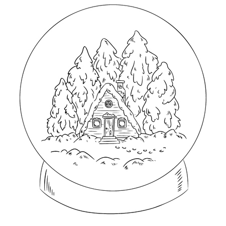 Winter cabin log in a snow globe scene for coloring