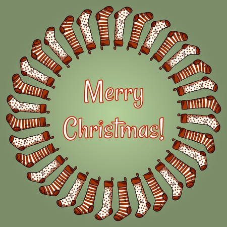 Merry Christmas stockings wreath. Holidays greetings card