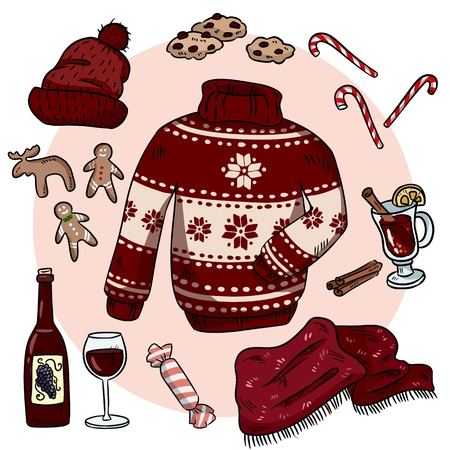 Winter Christmas doodles set. Cute hygge stickers. Collection of cozy winter items. Sweater, scarf, hat, mulled wine, ginger cookies Ilustrace