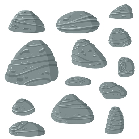 Set of gray stones for game art Ilustrace