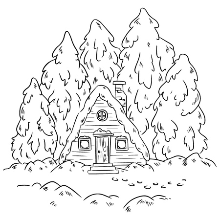 Winter cabin log scene for coloring. Vector hand-drawn illustration Stock Illustratie