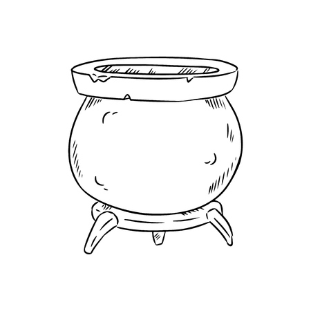 Magic cauldron doodle sketch. Hand drawn wiccan design. Alchemy, potions symbol