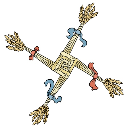 Brigids Cross made of straw. Wiccan Imbolc pagan symbol isolated element  イラスト・ベクター素材