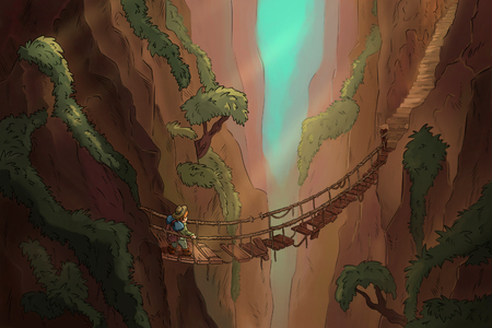 Lost canyon with suspension bridge comic illustration. Archaeologist looking for treasure