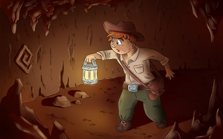 Archaeologist adventurer looking for treasure. Comic style illustration Stock Photo