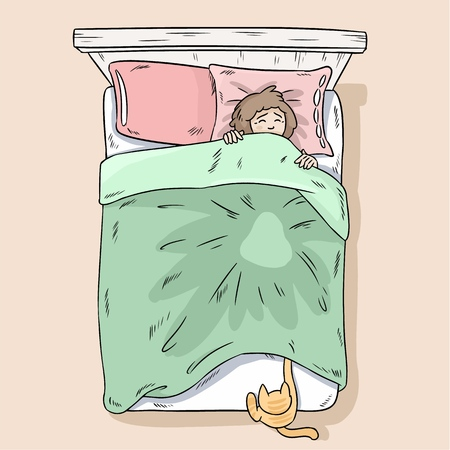 Gato atrapando patas debajo de la manta. La niña se despierta por culpa de su gato. Vista superior.