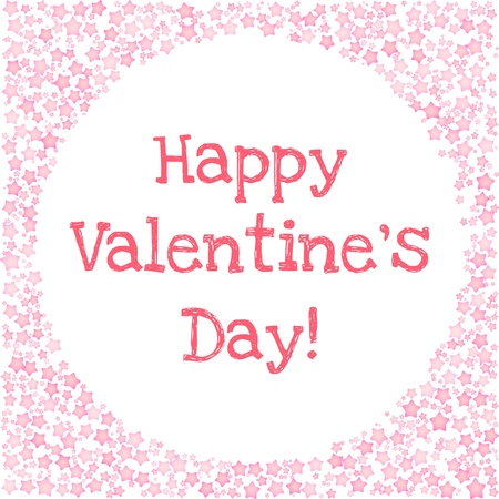 Romantic card for Valentines Day. Happy Valentines Day text in a circle frame of pink hearts on white background. Vector card