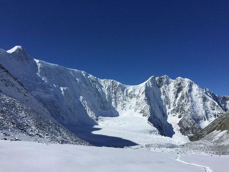 Akkem Wall. The Crown of Altai mountain peak. Belukha Mountain view. Altai, Russia. Akkem glacier