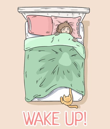 Wake up postcard. Cat catching legs under the blanket. Girl wakes up because of her cat. Top view.