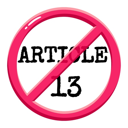 Article 13 of the EU Copyright Directive firbidden sign, conceptual vector illustration, symbol of censorship, isolated white background
