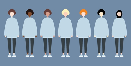 Set of diverse race vector women. Cute and simple modern flat style 矢量图像
