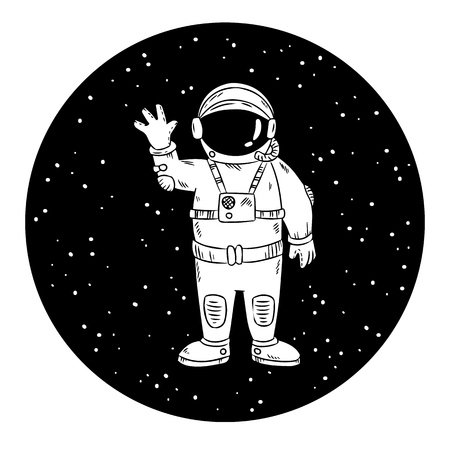 Cute little astronaut in space waving hand. Space vector image. Prints design