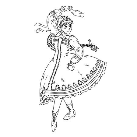 Folk dance performed by Ukrainian, Russian, Belorussian girl in national costume. Hand drawn sketch. Vector