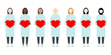Set of diverse race vector women in long dresses holding hearts. Valentine Day sisterhood cute and simple modern flat style