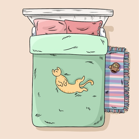 Cute cat lying on the bed belly up. Top view. Cartoon style image