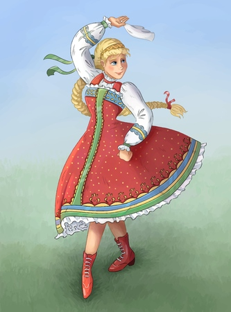 Folk dance performed by Ukrainian, Russian, Belorussian girl in national costume. Hand drawn colorful image. Vector 向量圖像