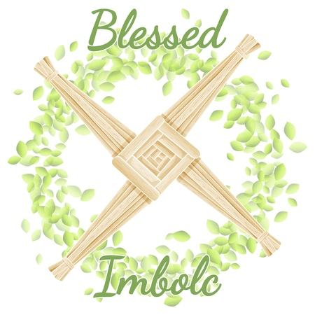 Blessed Imbolc. Beginning of spring pagan holiday. Brigid's Cross in a wreath of green leaves