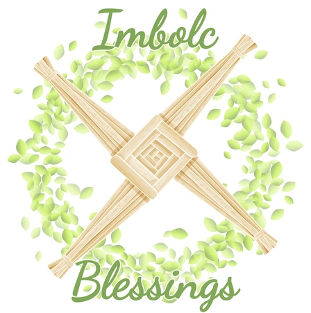 Imbolc Blessings. Beginning of spring pagan holiday. Brigid's Cross in a wreath of green leaves