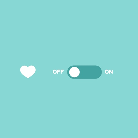 Love switcher. Romantic ON-OFF toggle switch. Valentine Day deactivate. Illustration