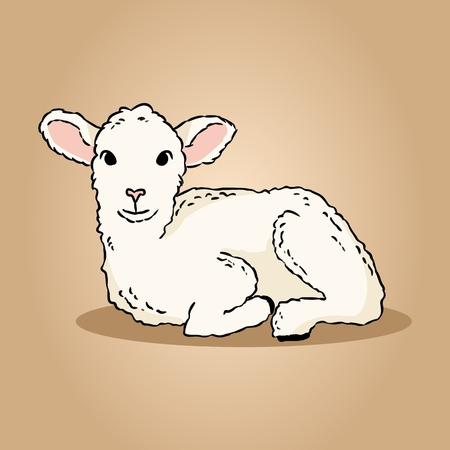 Cute lamb doodle. Image of a small sheep Vectores