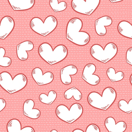 Cute cartoon colorful seamless pattern with hearts and stitches