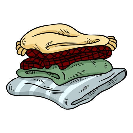 Neat cozy pile of plaid doodle. Folded clothes Vector Illustration