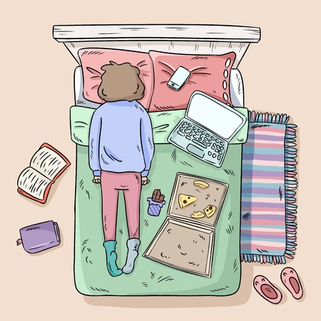 Girl procrastinating on the bed. Mess at home. Comic style image. Top view.