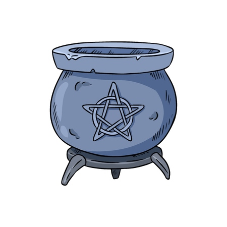 Magic cauldron with pentagram doodle. Hand drawn wiccan design
