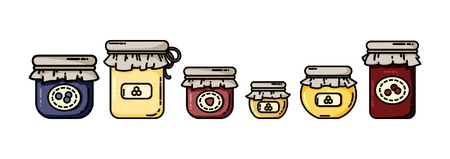Jars flat icons with jams and honey. Preserves in a row