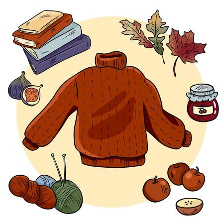 Autumn cozy doodles set. Cute hygge stickers Vector Illustration