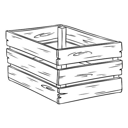 Boîte en bois dessin animé croquis dessinés à la main doodle