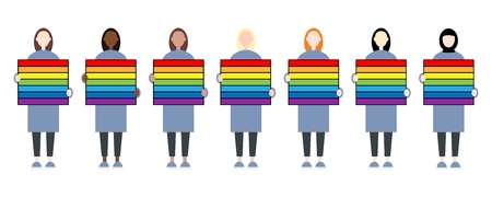 Set of diverse race female characters holding a rainbow sign. LGBTIQ community. Women rights Illustration