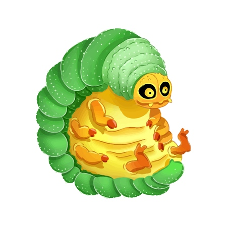 Cute cartoon larva colorful illustration. Dorky and funny image
