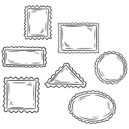 Set of hand drawn sketchy post stamp symbols. Postcard.