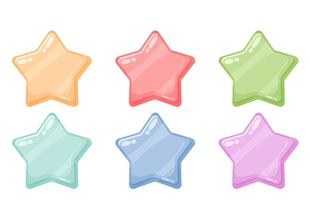Cartoon colorful glossy stars shiny icons. Game art  イラスト・ベクター素材