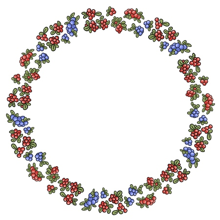 Red and blue winter berries colorful wreath. Vector ornament Ilustração