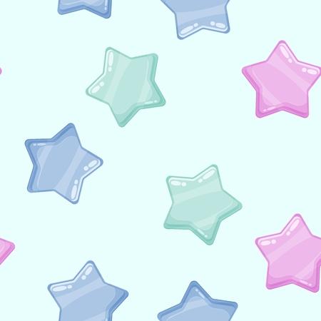 Cartoon colorful glossy stars shiny icons. Seamless pattern Illusztráció