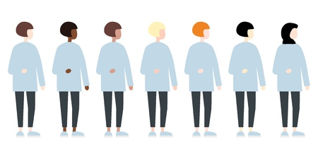 Set of diverse race vector women side view. Cute and simple modern flat style 矢量图像