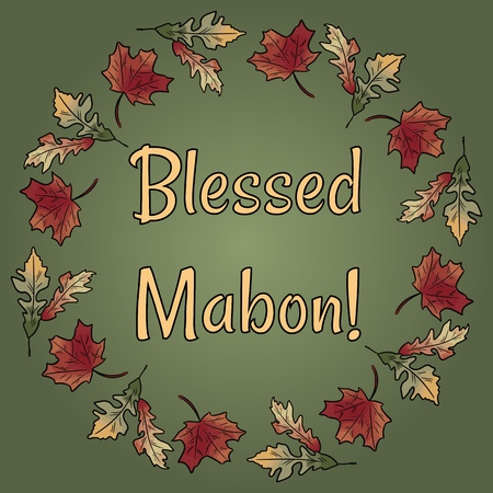 Blessed Mabon pagan holiday in fall leaves wreath ornament. Autumn orange and red foliage