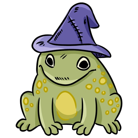 Cartoon magic toad with witch hat colorful doodle