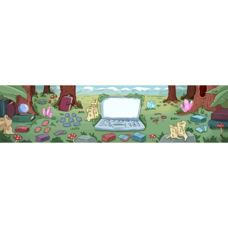 Banner for witchcraft. Laptop and divination instruments in the forest. Cute cartoon background banner