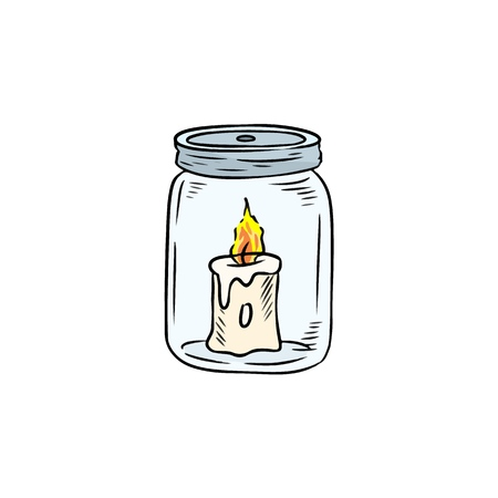 Candle in the jar doodle. Candle light inside the bottle. Hand drawn image Illustration