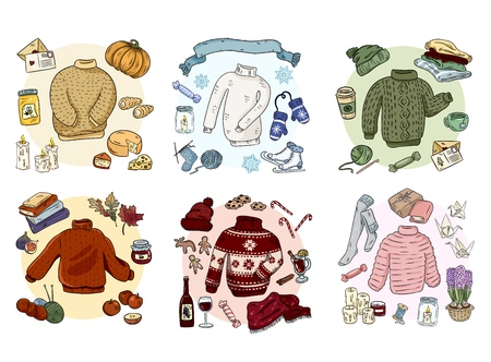 Cozy hygge doodles collection set. Cute stickers